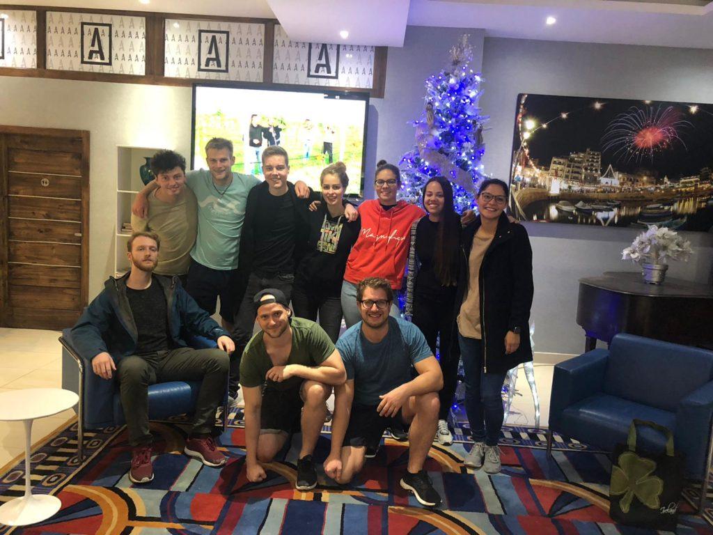 Weihnachtsbild mit der Crew